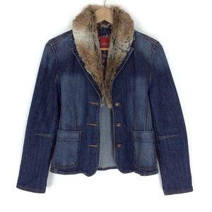 Esprit Denim Faux Fur Jacket Size 8